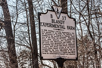 Blandy Experimental Farm Historic District - Image: Blandy Farm Historical Marker