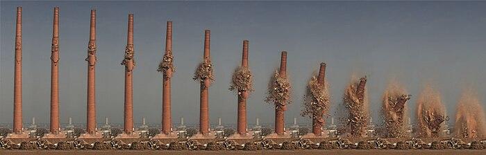 Blasting of a chimney at the former Henninger Brewery in Frankfurt am Main, Germany.jpg