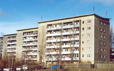 East German Plattenbau apartment blocks Block Poehoe alt.jpg