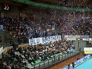 Italian Volleyball League - Crowd attending a volleyball match in Cuneo.