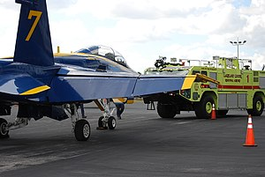 Lakeland Linder Regional Airport - ARFF 1 and USN Blue Angel 7 sit in front of the terminal