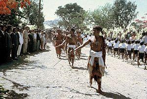 Bunak people - A Company of Moradores parade in Bobonaro, circa 1968-1970.