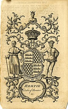 A bookplate showing the coat of arms for Bertie, Duke of Ancaster