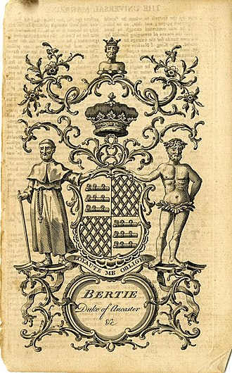Earl of Lindsey - A bookplate showing the coat of arms for Bertie, Duke of Ancaster