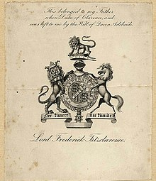 A bookplate showing the coat of arms of Lord Frederick FitzClarence
