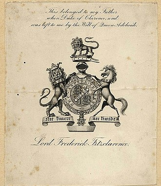 """Lord Frederick FitzClarence - Bookplate showing the coat of arms of Lord Frederick FitzClarence. The bookplate reads, """"This belonged to my Father when Duke of Clarence and was left to me by the Will of Queen Adelaide"""""""