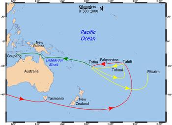 Map shows Australaian and New Zealand landmasses and a section of the southern Pacific Ocean. Bounty's travels are depicted by directional arrows coloured to distinguish movements before and after the mutiny.