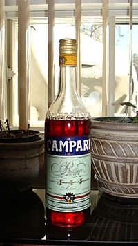 Campari, produced in Italy and bottled at 25% ABV.