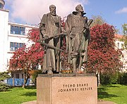 Statue of Tycho Brahe and Johannes Kepler in Prague, Czech Republic