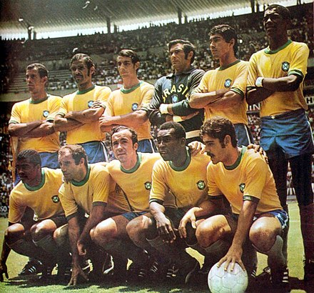The 1970 FIFA World Cup-winning Brazil team, considered by many distinguished commentators as the greatest association football team ever Brazil 1970.JPG