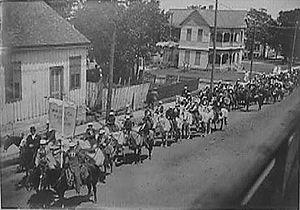 Brenham, Texas - Washington County Boys' Corn Club mounted and in parade, May 26, 1910