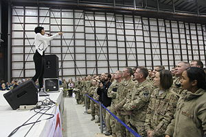 Bridget Kelly - Kelly performing for U.S. Service members during the 2013 USO Chairman's Holiday Tour at Bagram Airfield in Parwan province, Afghanistan, Dec 9, 2013