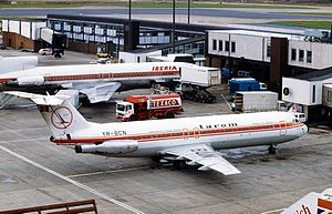 EAS Airlines Flight 4226 - The accident aircraft while still in operation with TAROM, seen here in London-Heathrow International Airport in 1981.