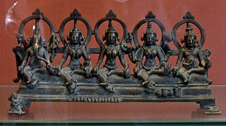 Kubera - A bronze Matrika goddess group along with Ganesha (left) and Kubera (right) currently at the British Museum. Originally from Eastern India, it was dedicated in 43rd year of reign of Mahipala I (c. 1043 AD).