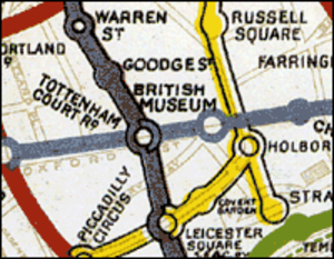British Museum tube station - British Museum station featured on an old version of the Tube map