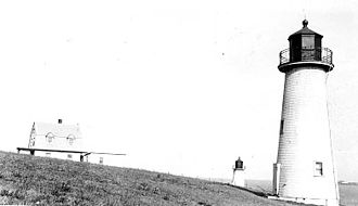 Broad Sound Channel Inner Range Lights - the lights sometime after 1913, with the rear light in the foreground (USCG)