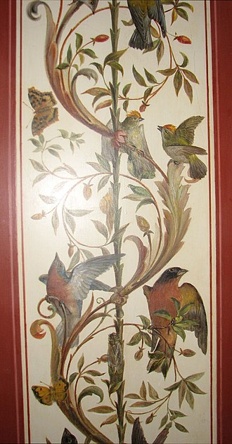 Brumidi Corridors - Detail of song birds and butterflies in Brumidi Corridor.