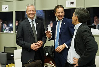Bruno Le Maire - Bruno Le Maire (left), Eurogroup President Jeroen Dijsselbloem (centre) and Greek Minister of Finance Euclid Tsakalotos (right), 2017