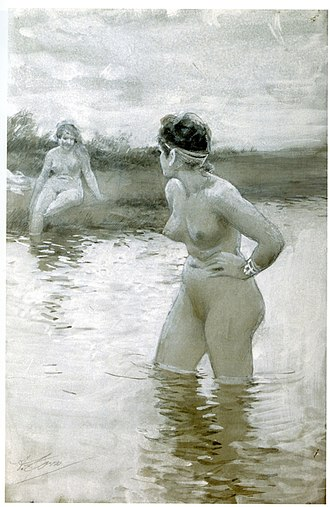 Brunhild - Brunhild and Gudrun quarrel at the river. Illustration by Anders Zorn (1893)