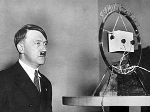 Reichs-Rundfunk-Gesellschaft - Adolf Hitler making his address to the nation at a Funk-Stunde microphone, following his appointment as Reich Chancellor in 1933