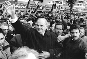 Alliance for Germany - Helmut Kohl at an election rally of Alliance for Germany, 1990.