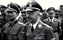 Photo of the 1941 SS tour of the Mauthausen concentration camp led by Heinrich Himmler; Otto Kumm (shown in  front row, left), Wilhelm Bittrich and Paul Hausser took part in the tour