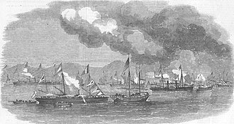 Battle of Escape Creek - Image: Burning of 27 junks taken in Escape Creek