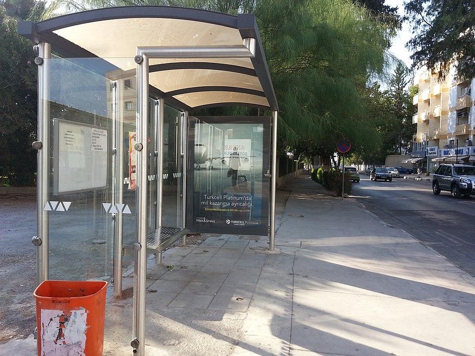 Bus stop in Bedrettin Demirel Avenue North Nicosia