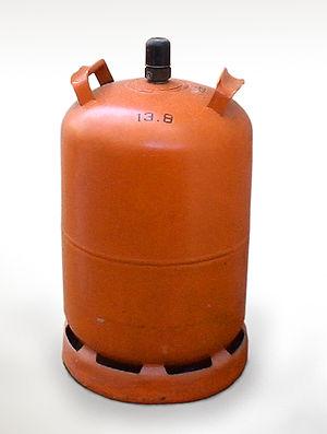 Butane gas cylinder on white background