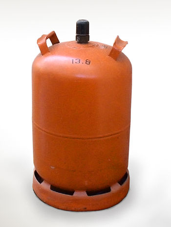 English: Butane gas cylinder on white background