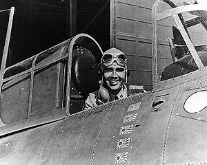 Edward O'Hare - Lieutenant Edward Butch O'Hare in a Grumman F4F-3 Wildcat