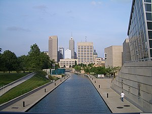 The downtown Indianapolis canal