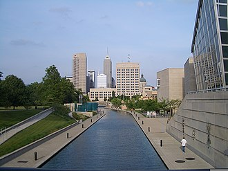 Indiana Central Canal - The skyline of downtown Indianapolis from the canal with the Medal of Honor Memorial and Indiana State Museum on the sides.