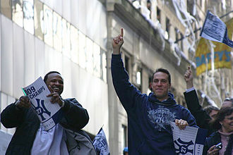 CC Sabathia - CC Sabathia (left) and Mark Teixeira during the 2009 World Series parade.