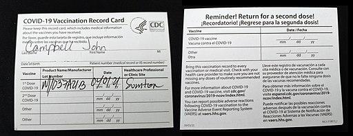 CDC COVID-19 Vaccination Record Card