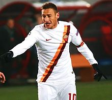 Francesco Totti, the top goalscorer and the most capped player in Roma's history.