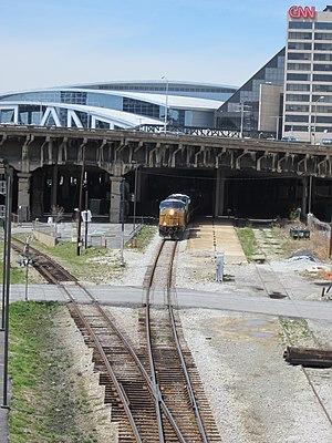 The Gulch (Atlanta) - A CSX Coal Train moves through the Gulch near the CNN Center