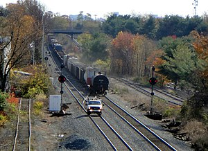 Metropolitan Subdivision - Freight train at Derwood interlocking heading east towards Washington, D.C.