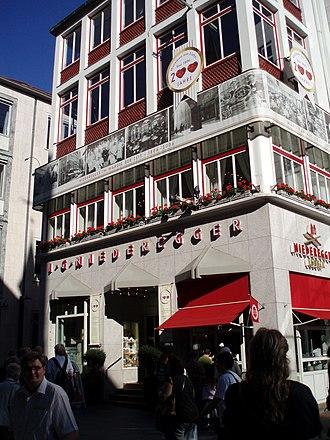 Niederegger - Café Niederegger in central Lübeck with 200-year anniversary decoration