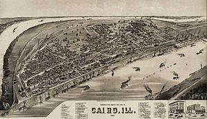 Cairo, Illinois - Cairo panoramic map, 1885.