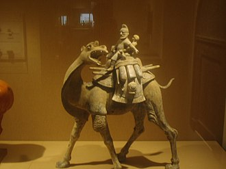 An Lushan Rebellion - Camel with rider, earthenware, Tang dynasty