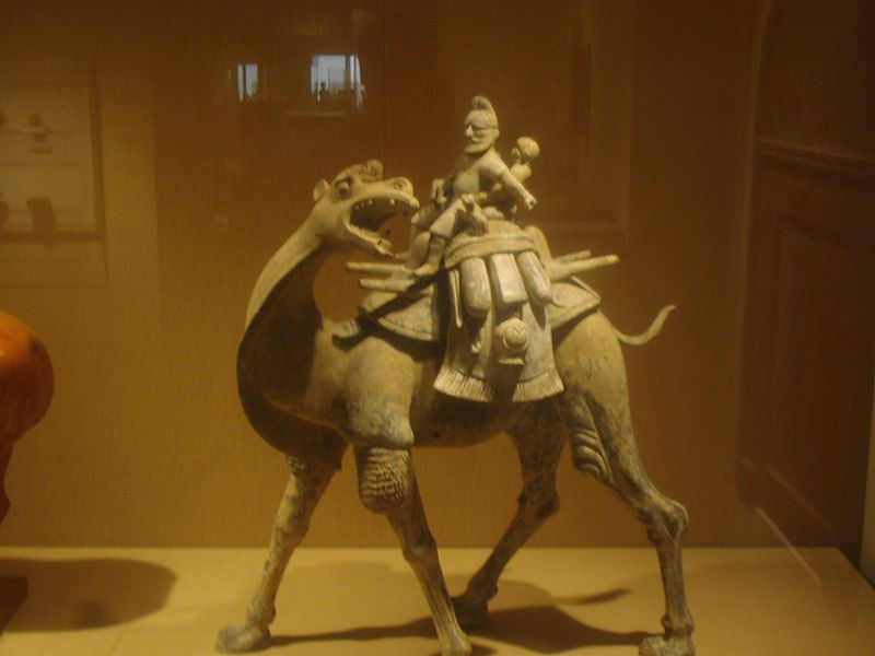 Camel with rider, earthenware, Tang Dynasty.JPG