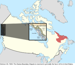 Map of the change to the international disputes involving Canada on October 20, 1903
