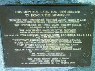 1940 Canberra air disaster - Plaque of Memorial Cairn (1960) at the site of the disaster