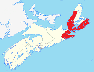 English: Map of Cape Breton-Canso