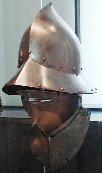 Kettle hat - Spanish kettle hat (capacete) and bevor. Made in Calatayud (Aragon, Spain) ca. 1470. Les Invalides (Paris)