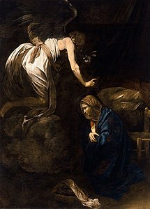 "The Annunciation, by Caravaggio. ""How can this be, for I know not man?"""