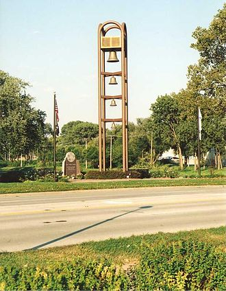 Rolling Meadows, Illinois - This bell tower stands at the bridge on Kirchoff Road.