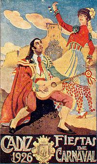 Cartel de las Fiestas de Carnaval de Cádiz (Año 1.926)