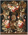 Carstiaen Luyckx - A flower garland around a stone cartouche with a coat-of-arms.jpg